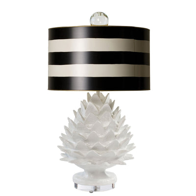 Small Artichoke Lamp with striped drum shade, papier mache and tole