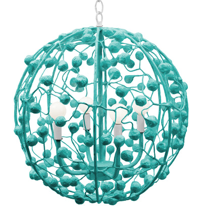 Stray Dog Aqua Papier Mache Sphere Pendant Light With Berries
