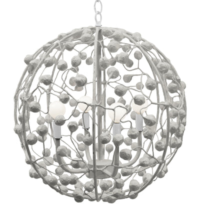 Papier Mache Sphere Pendant Ceiling Fixture by Stray Dog Designs