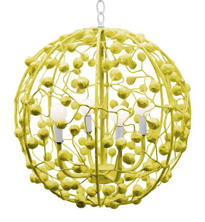 Bright Papier Mache Round Ball Chandelier by Stray Dog Designs