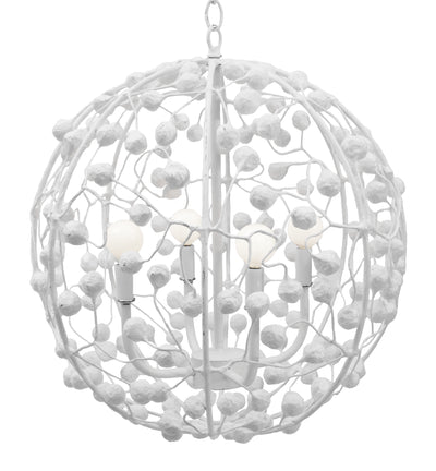 White Celeste Sphere Pendant With Papier Mache Berries and Balls by Stray Dog Designs