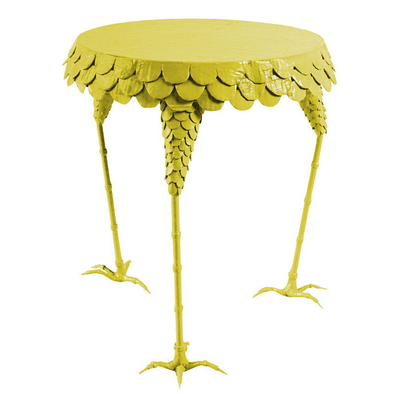 adorable chicken leg side table with feathers and chicken feet