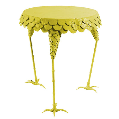 colorful, chartreuse chicken leg side table
