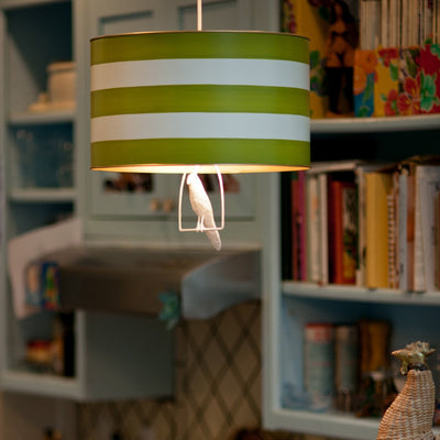 uncle walter drum pendant light with white bird