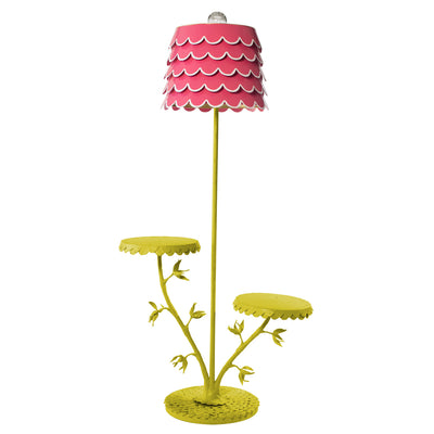 Fabulous Floor Lamp with Dahlia tables and pink flounce shade
