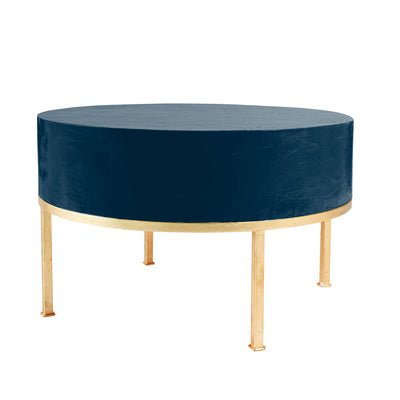 Ty Coffee Table in navy with gold leafed legs