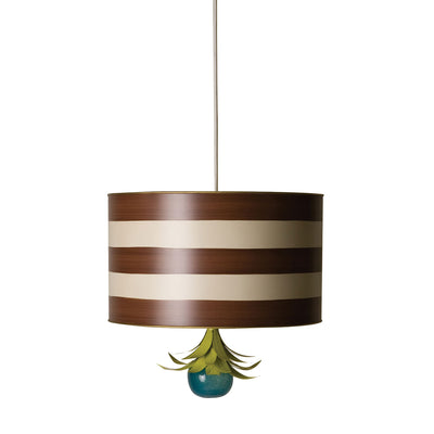 brown and white striped drum pendant hanging light Stray Dog Designs