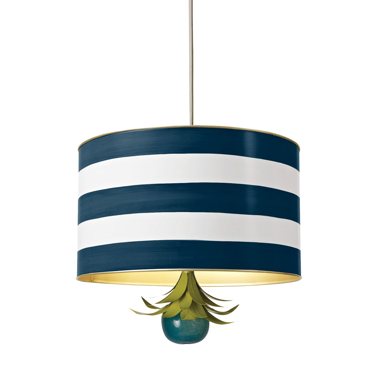 navy and white striped tole drum pendant for Stray Dog Designs