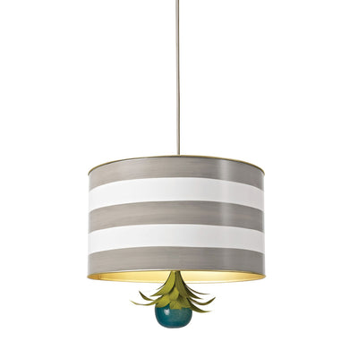 gray and white striped drum pendant light , tole, Stray Dog Designs