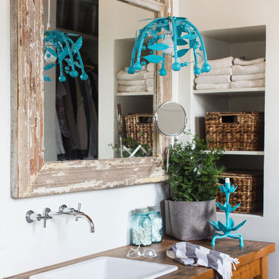 Gabby Pendant, blue, leafy ceiling light made from papier mache.