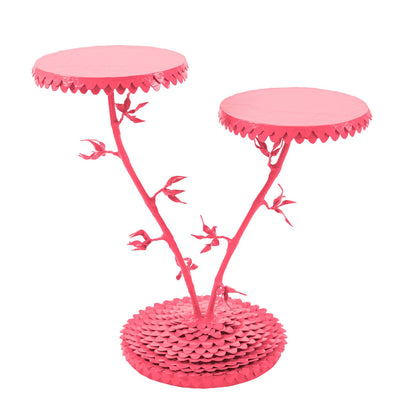 two tiered bright pink floral drinks table with whimsical dahlia design