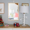 Sarah Bird Lamp, white papier mache light with birds in tree design