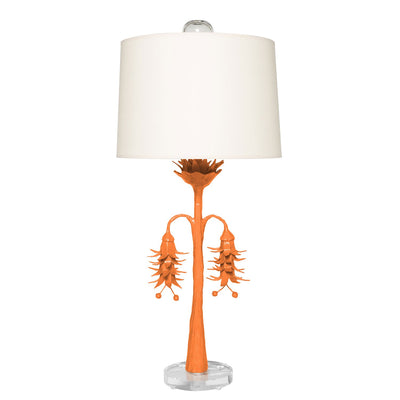 Victoria Robbins Lamp, handmade papier mache, orange