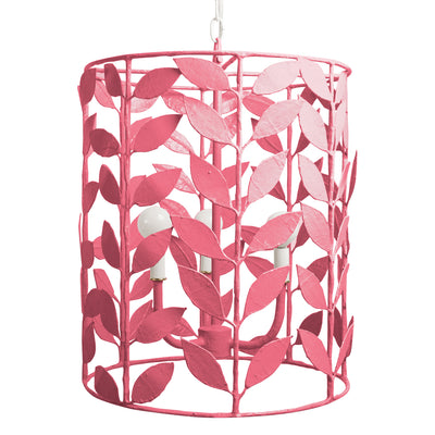 Adelaide Pendant, pink papier mache lantern with leaves
