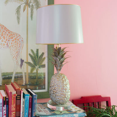 Pineapple Lamp in gray, papier mache and tin shade