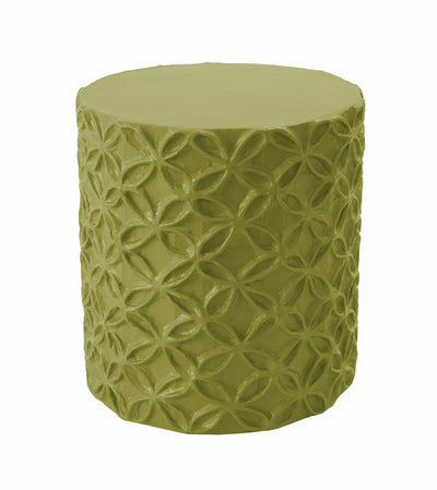 stool and accent table in lush green with floral relief