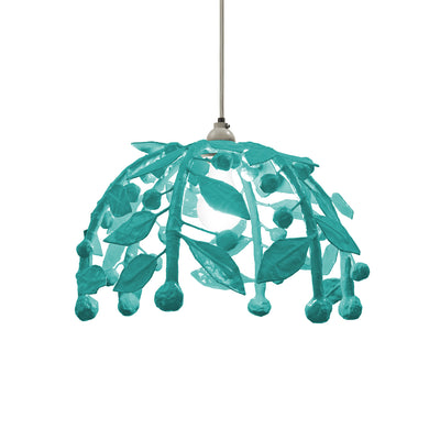 bright blue leafy paper mache pendant light. The Gabby by Stray Dog.