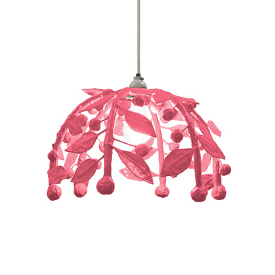 Pink pendant light with leaves and berries. paper mache.