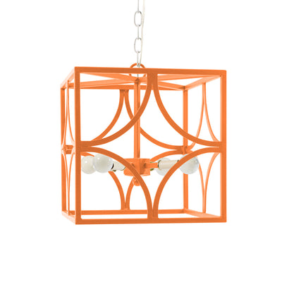 Art Nouveau inspired chandelier made of iron in orange
