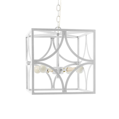 Iron Geo Chandelier in white