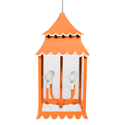 Orange Girly Lantern, scallop edges, hand made of iron