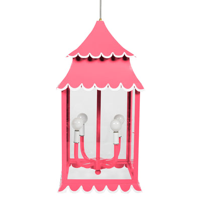 Pink Girly lantern with scallops made from iron and glass