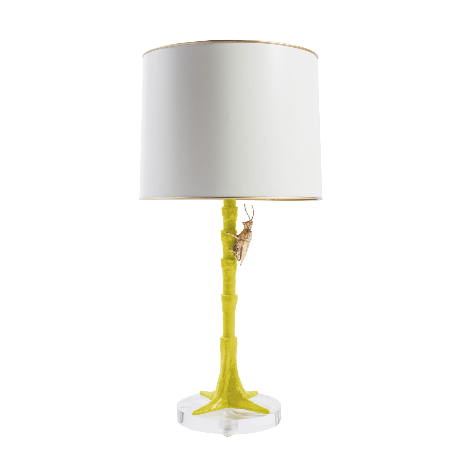 chartreuse gold bug lamp, handmade from papier mache