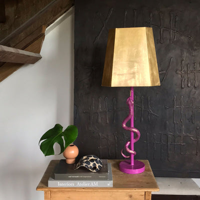 Purple Hank Lamp with snake, handmade paper mache with gold leafed shade