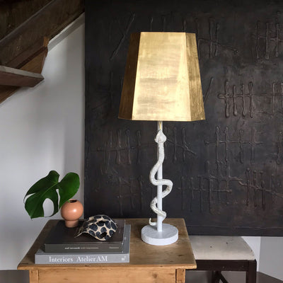 White snake lamp with gold shade, Hank Light by Stray Dog Designs