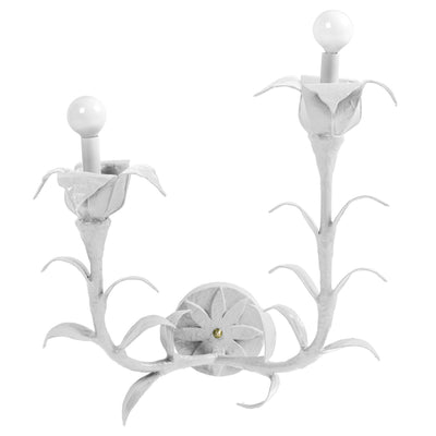 white Helen Wall sconce with 2 lights and flower design, paper mache