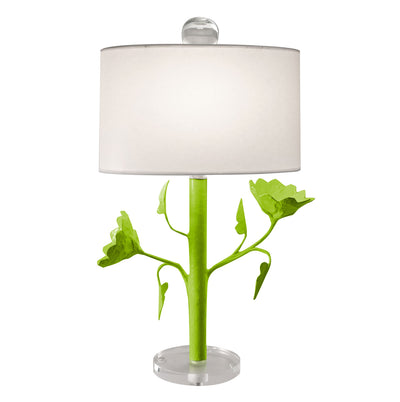 Jarmin lamp, green papier mache lamp with poppies