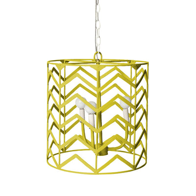 chartreuse iron chandelier with chevron design, Jonathon for Stray Dog Designs
