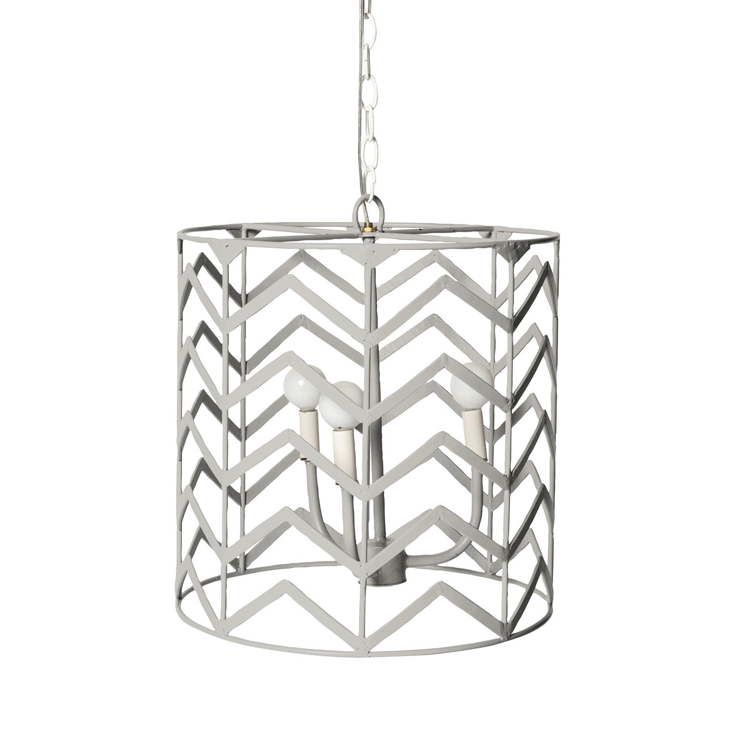 gray iron Jonathon Chandelier with chevron pattern