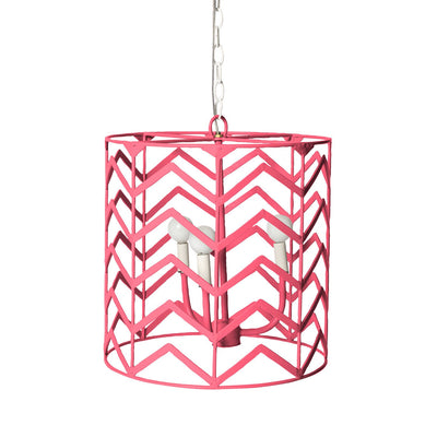 Pink iron handing drum cage light with chevron design