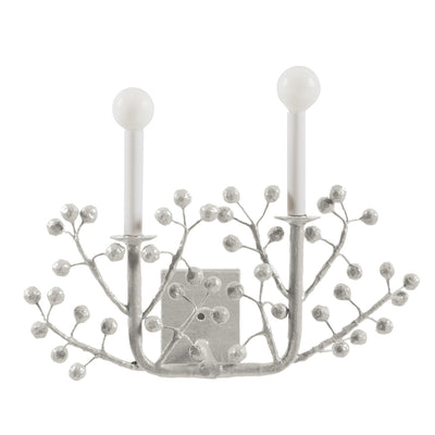 gray Laura B papier mache wall sconce with berry design