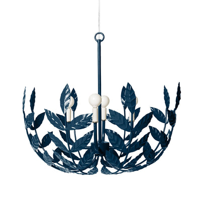 navy blue iron hanging light with leafy motif, the Leonora Chandelier