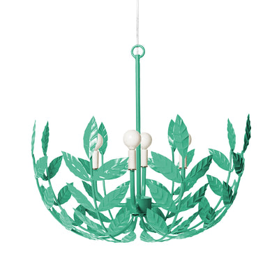 aqua iron chandelier with leaf design by Stray Dog