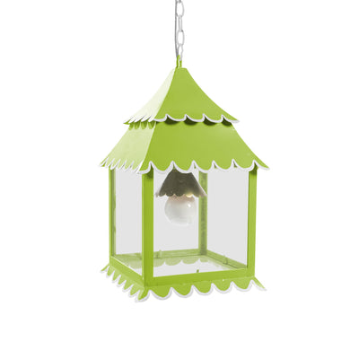 green hanging lantern light with white scallop edges
