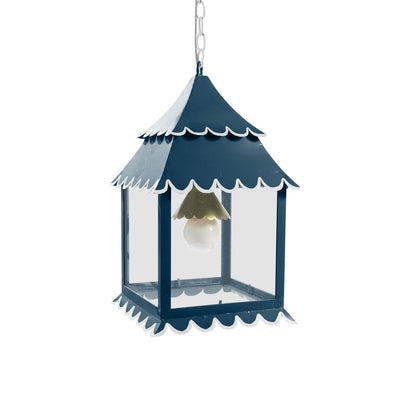 navy and white pagoda shaped hanging lantern by Stray Dog