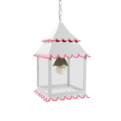 white and pink hanging lantern light made from iron for Stray Dog