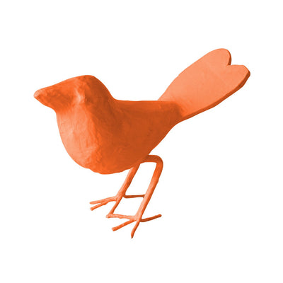 Love Bird in pumpkin blush orange made from papier mache