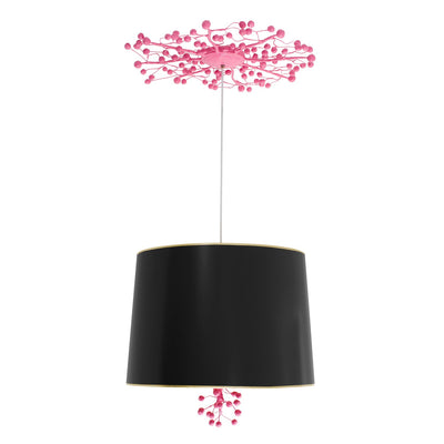 black and pink marsi hanging light with drum shade and berries