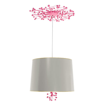 gray and pink Marsi hanging light with papier mache berry design canopy and finial