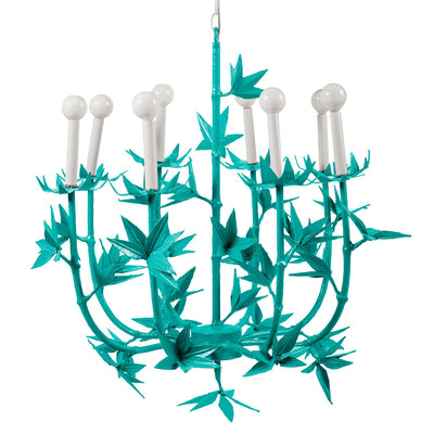 Aqua Melissa Chandelier papier mache flowers designed by stray dog