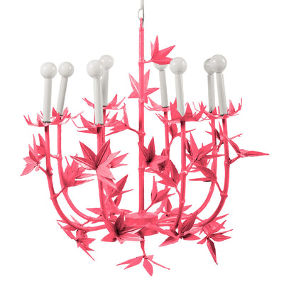 pink Melissa chandelier handmade from papier mache with spiky flower design