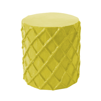 chartreuse happy papier mache stool