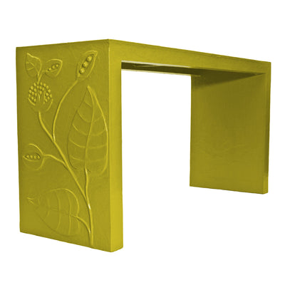 papier mache covered console with vine in chartreuse