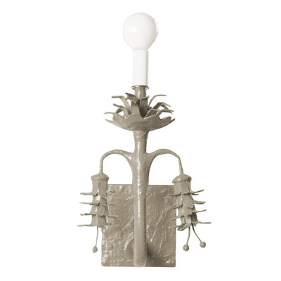 Kingsport Gray Polly Sconce, handmade paper mache wall light