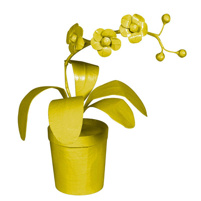 Potted Orchid made from papier mache painted chartreuse