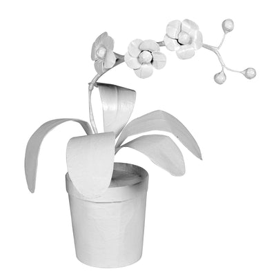 Papier Mache Potted Orchid, handmade in Mexico